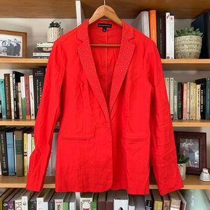 ROCK & REPUBLIC   Red Studded Linen Rocker Blazer